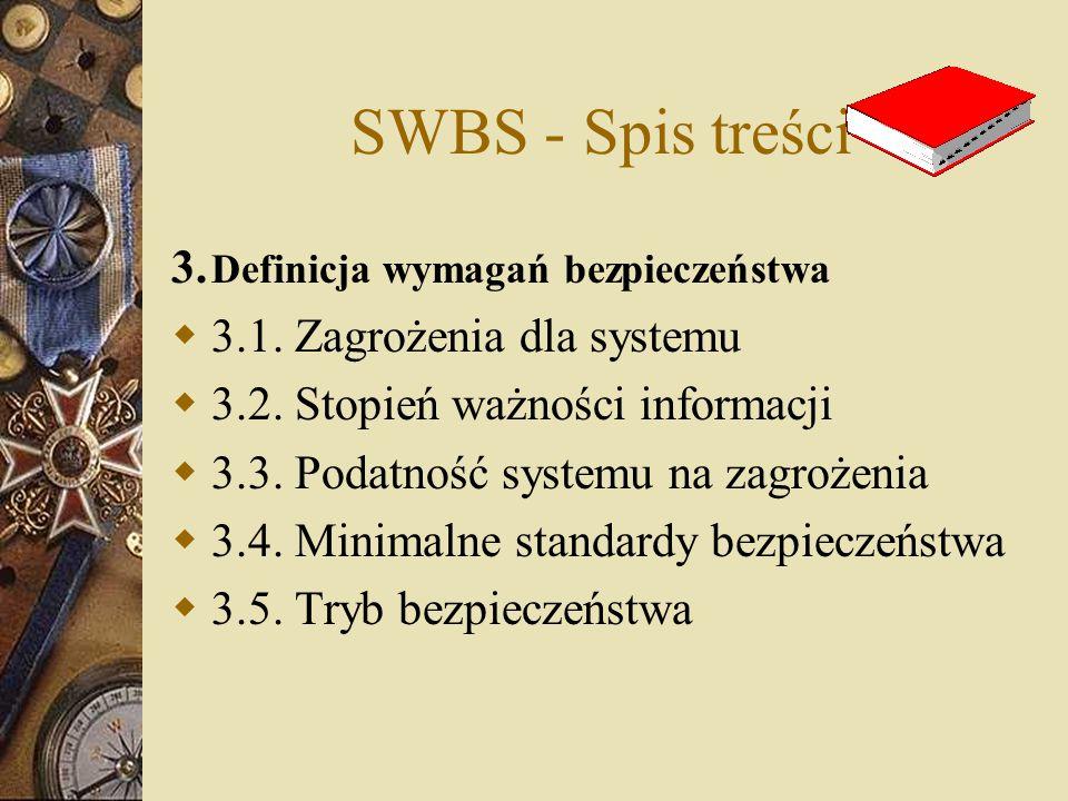 SWBS - Spis treści 3. Definicja wymagań bezpieczeństwa