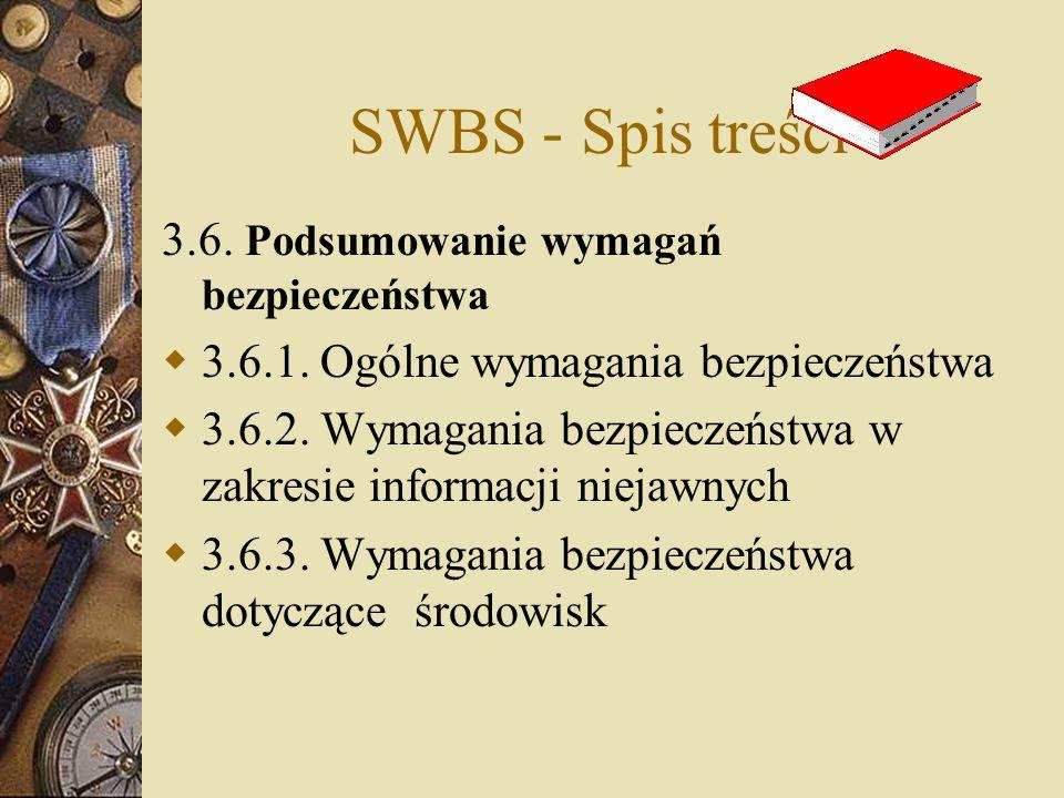 SWBS - Spis treści 3.6. Podsumowanie wymagań bezpieczeństwa