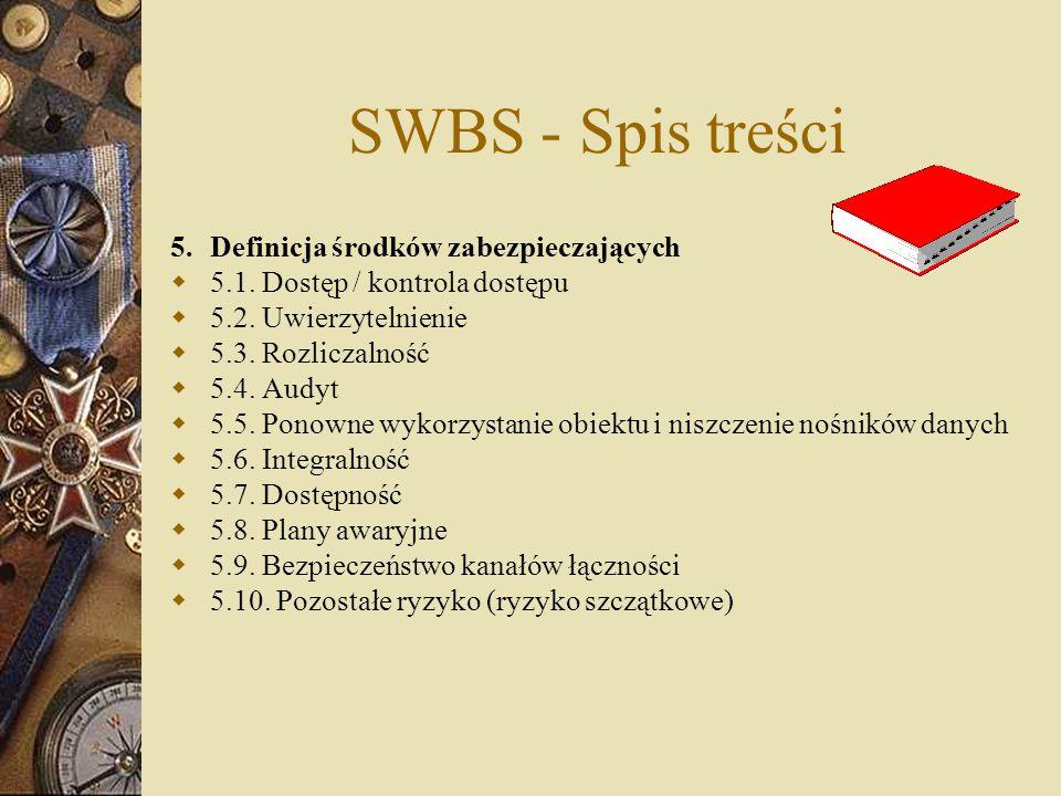 SWBS - Spis treści 5. Definicja środków zabezpieczających