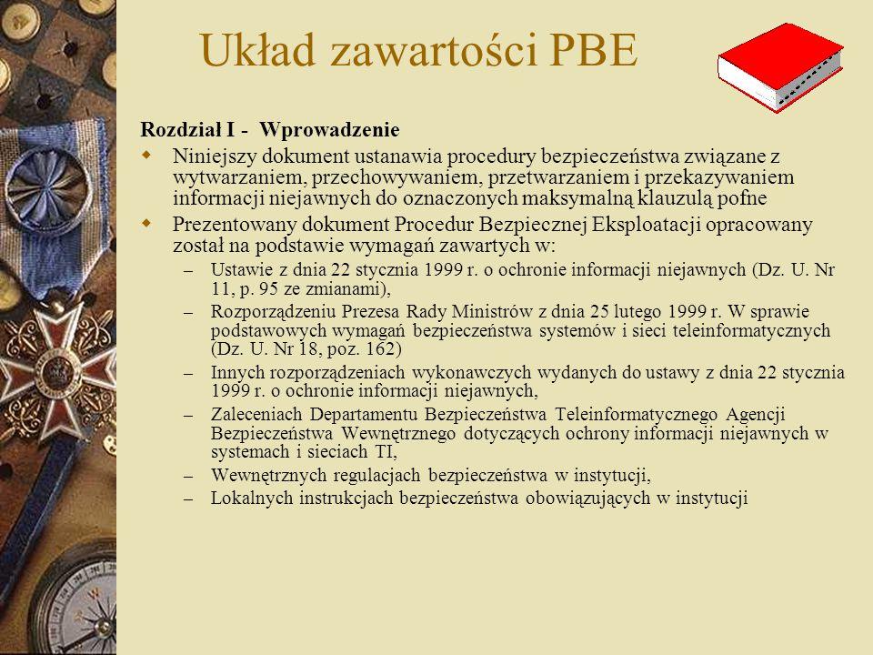 Układ zawartości PBE Rozdział I - Wprowadzenie