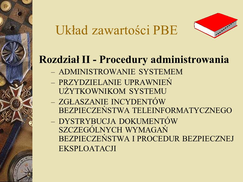 Układ zawartości PBE Rozdział II - Procedury administrowania