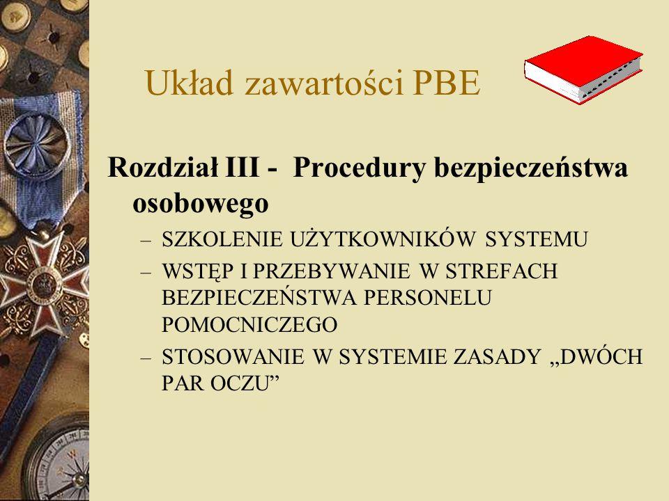 Układ zawartości PBE Rozdział III - Procedury bezpieczeństwa osobowego