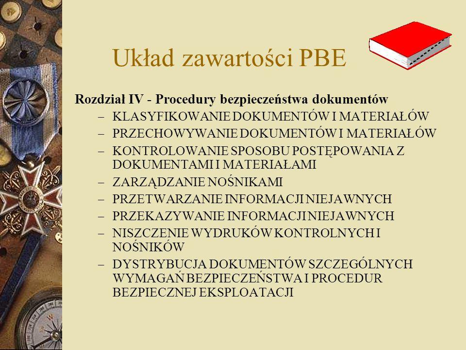 Układ zawartości PBE Rozdział IV - Procedury bezpieczeństwa dokumentów