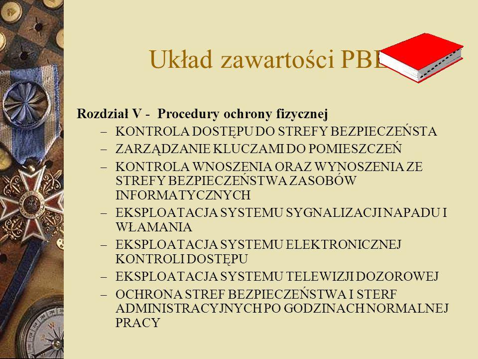 Układ zawartości PBE Rozdział V - Procedury ochrony fizycznej