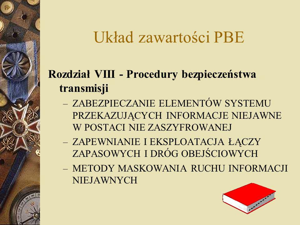 Układ zawartości PBE Rozdział VIII - Procedury bezpieczeństwa transmisji.