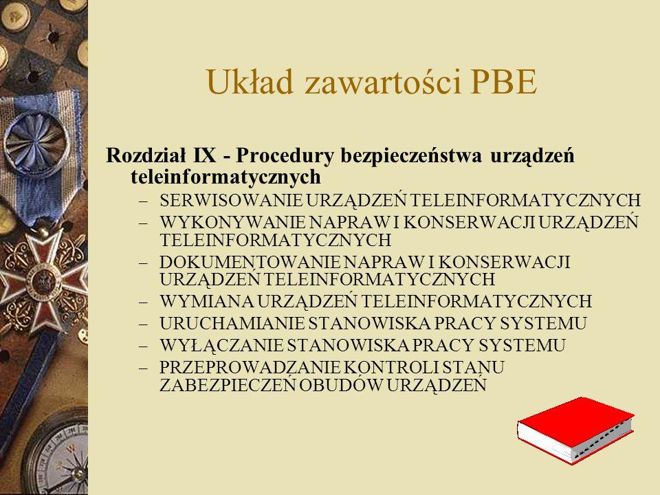 Układ zawartości PBE Rozdział IX - Procedury bezpieczeństwa urządzeń teleinformatycznych. SERWISOWANIE URZĄDZEŃ TELEINFORMATYCZNYCH.