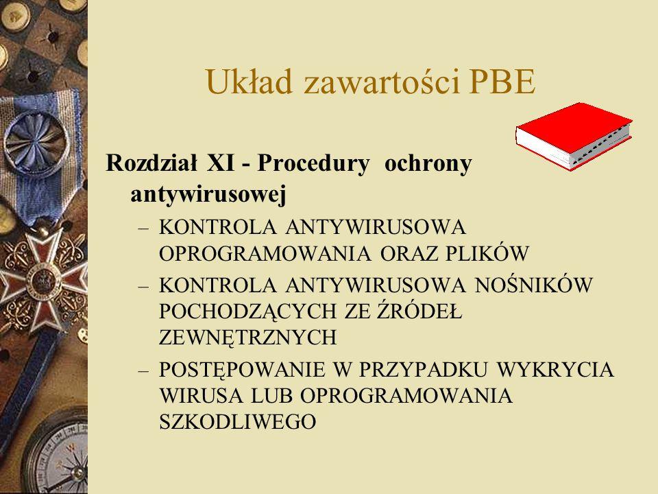 Układ zawartości PBE Rozdział XI - Procedury ochrony antywirusowej
