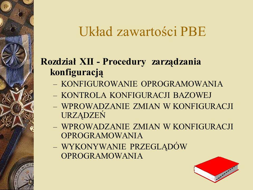 Układ zawartości PBE Rozdział XII - Procedury zarządzania konfiguracją