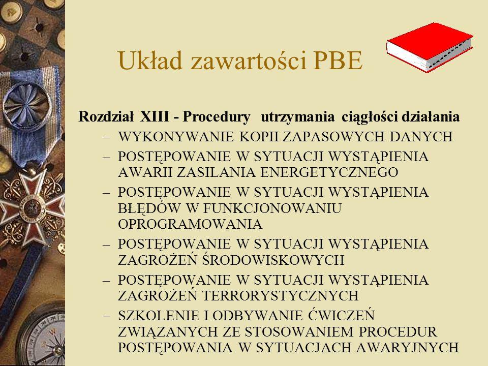 Układ zawartości PBE Rozdział XIII - Procedury utrzymania ciągłości działania. WYKONYWANIE KOPII ZAPASOWYCH DANYCH.