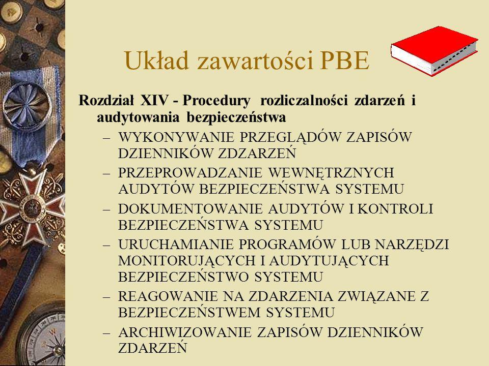 Układ zawartości PBE Rozdział XIV - Procedury rozliczalności zdarzeń i audytowania bezpieczeństwa.