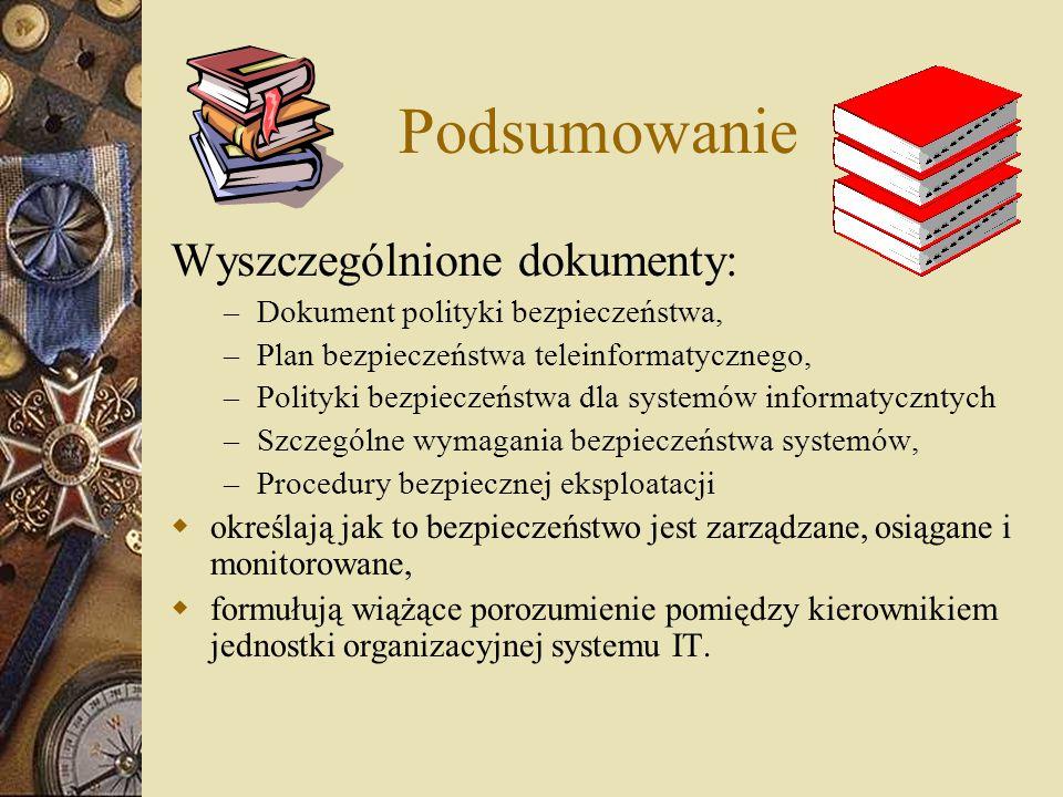 Podsumowanie Wyszczególnione dokumenty: