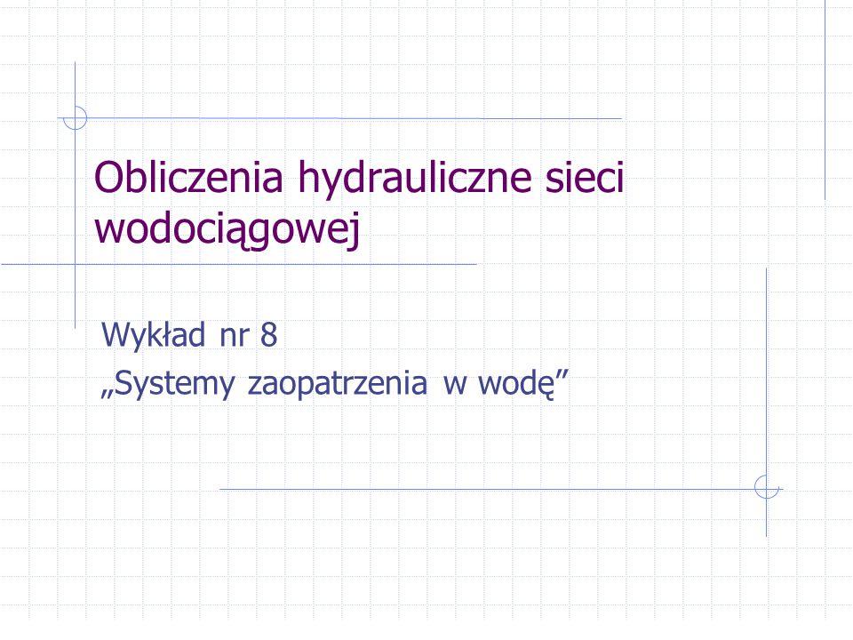 Obliczenia hydrauliczne sieci wodociągowej