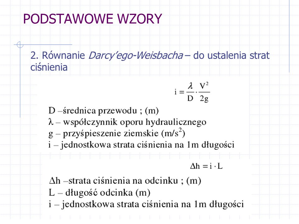 PODSTAWOWE WZORY 2. Równanie Darcy'ego-Weisbacha – do ustalenia strat ciśnienia