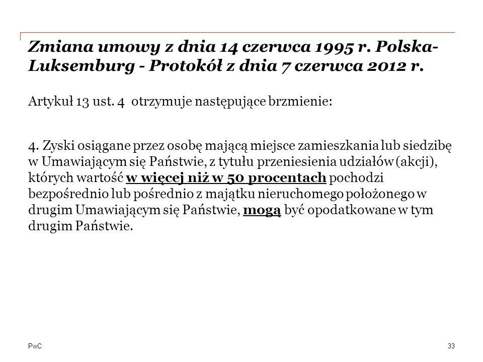 Zmiana umowy z dnia 14 czerwca 1995 r