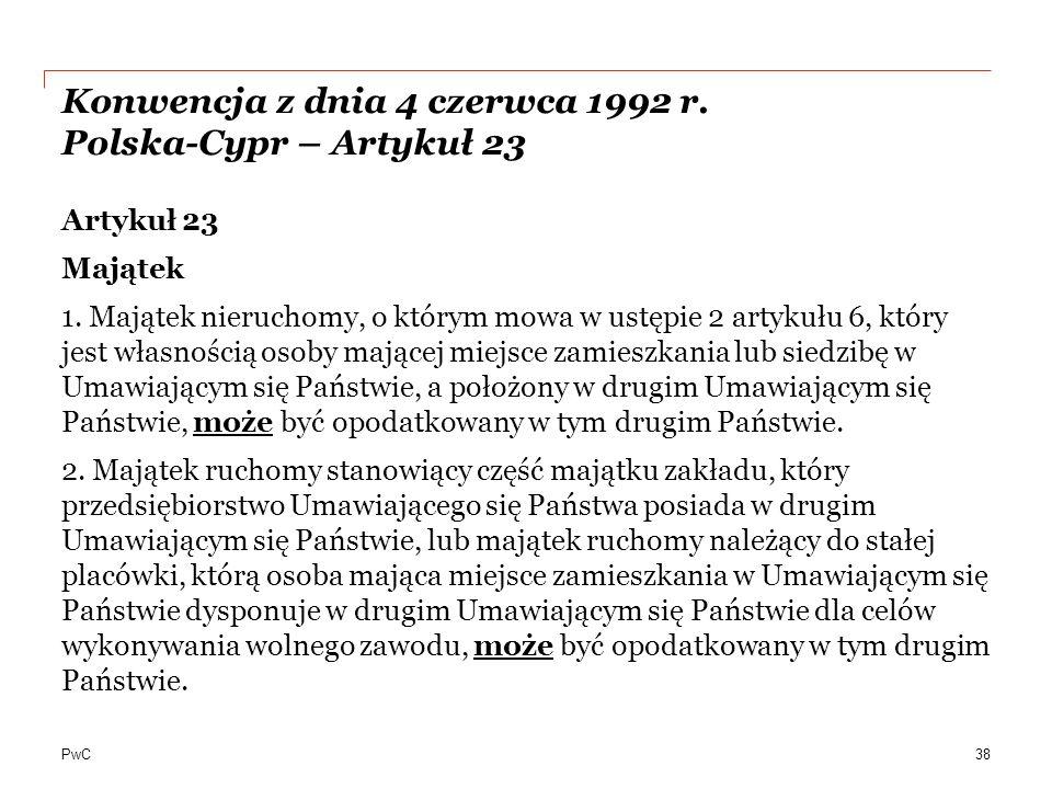 Konwencja z dnia 4 czerwca 1992 r. Polska-Cypr – Artykuł 23