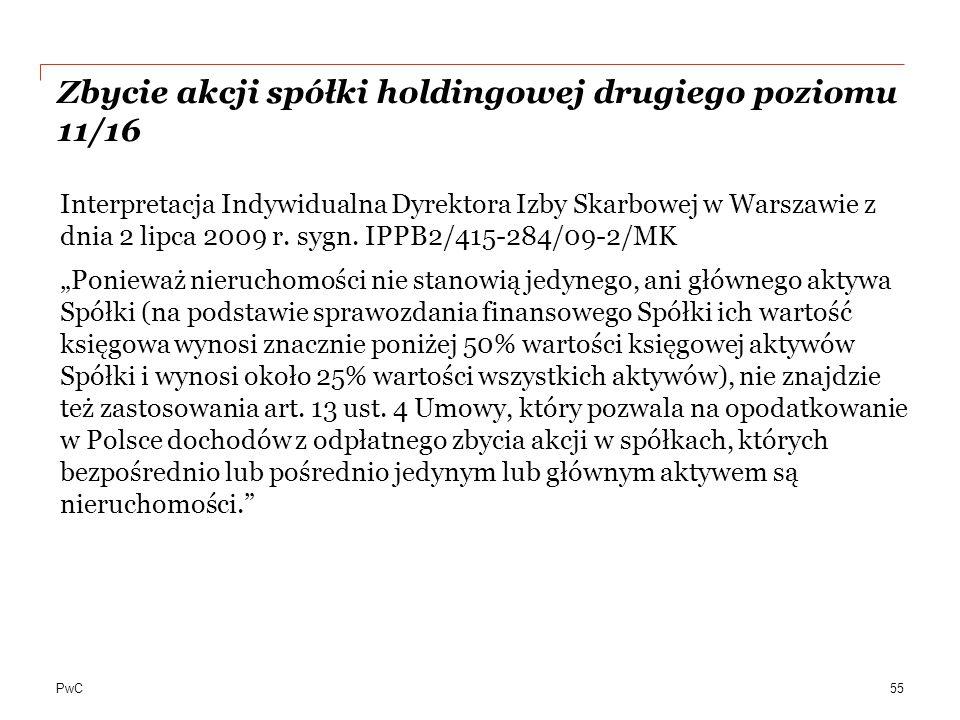 Zbycie akcji spółki holdingowej drugiego poziomu 11/16