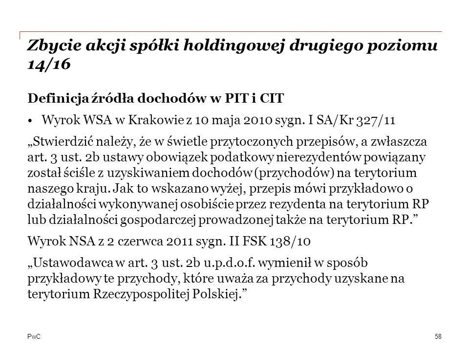 Zbycie akcji spółki holdingowej drugiego poziomu 14/16