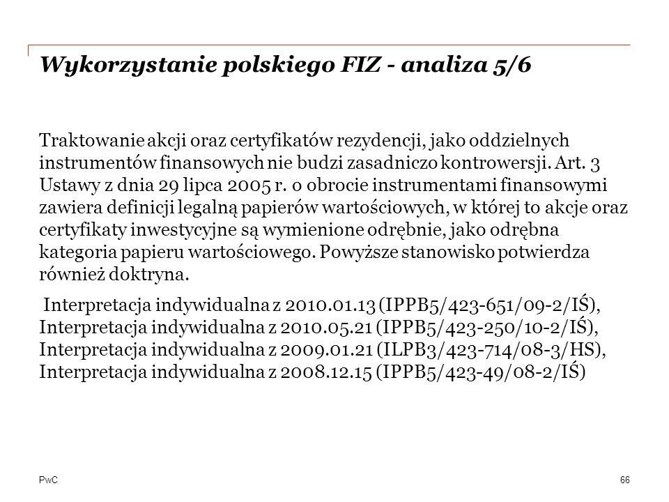 Wykorzystanie polskiego FIZ - analiza 5/6