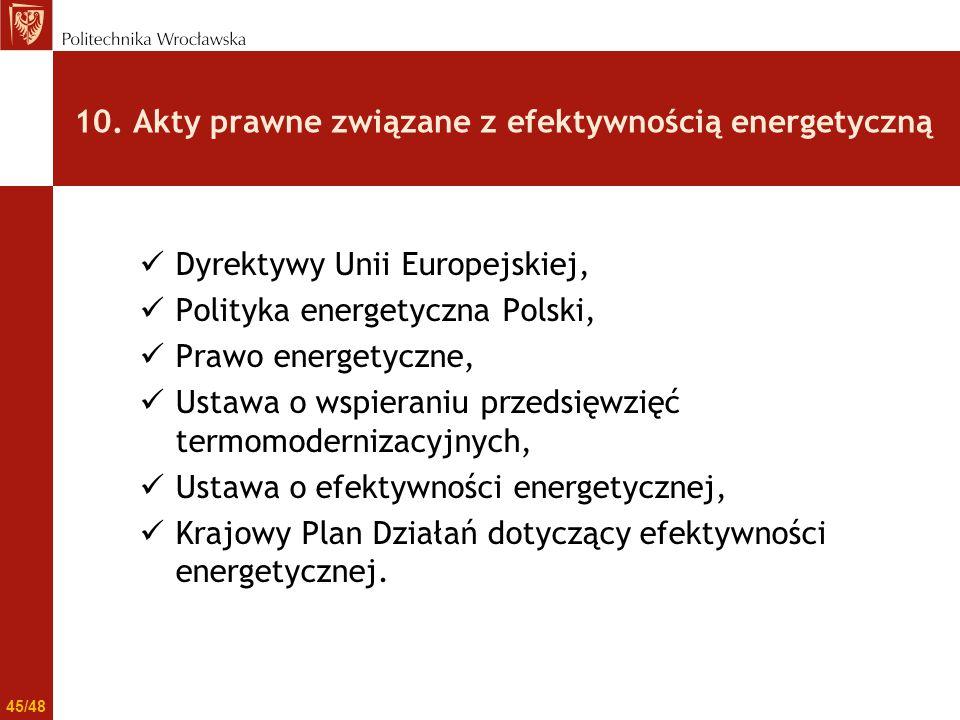 10. Akty prawne związane z efektywnością energetyczną