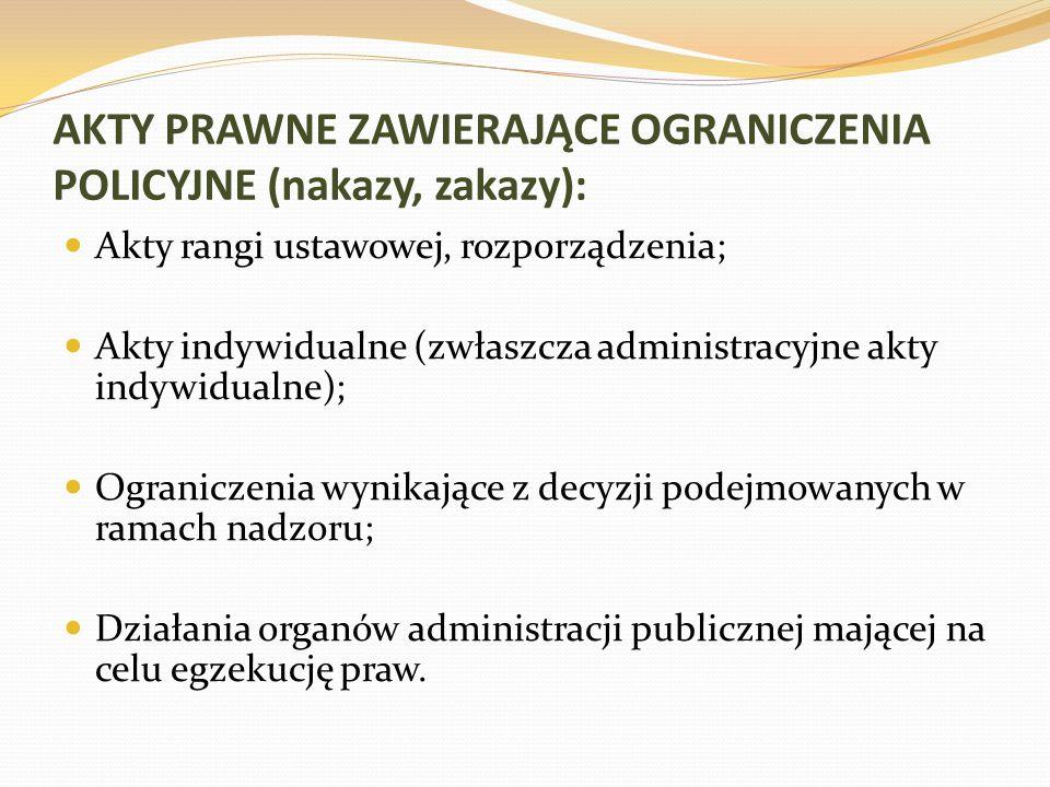 AKTY PRAWNE ZAWIERAJĄCE OGRANICZENIA POLICYJNE (nakazy, zakazy):
