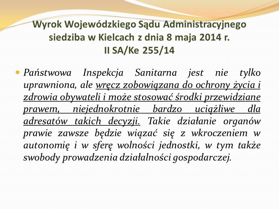 Wyrok Wojewódzkiego Sądu Administracyjnego siedziba w Kielcach z dnia 8 maja 2014 r. II SA/Ke 255/14
