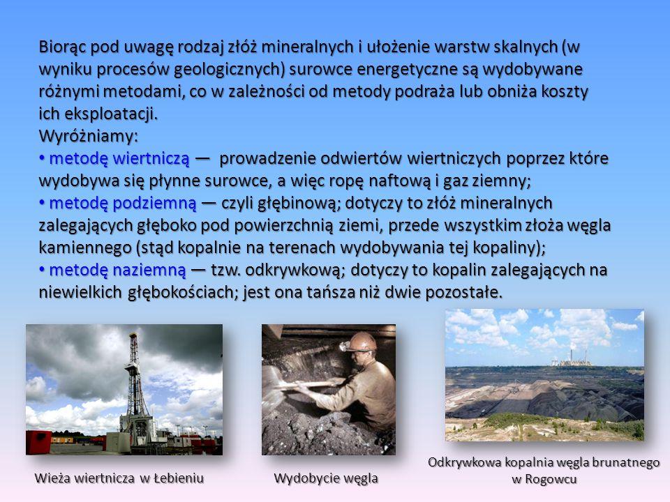 Biorąc pod uwagę rodzaj złóż mineralnych i ułożenie warstw skalnych (w wyniku procesów geologicznych) surowce energetyczne są wydobywane różnymi metodami, co w zależności od metody podraża lub obniża koszty ich eksploatacji.