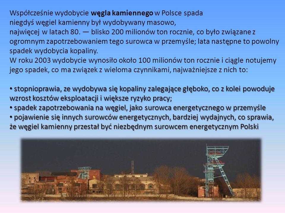 Współcześnie wydobycie węgla kamiennego w Polsce spada