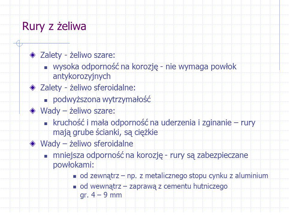 Rury z żeliwa Zalety - żeliwo szare: