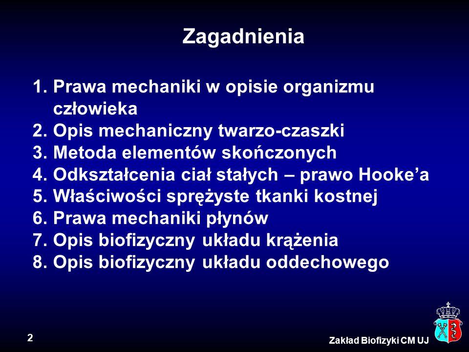 Zagadnienia Prawa mechaniki w opisie organizmu człowieka