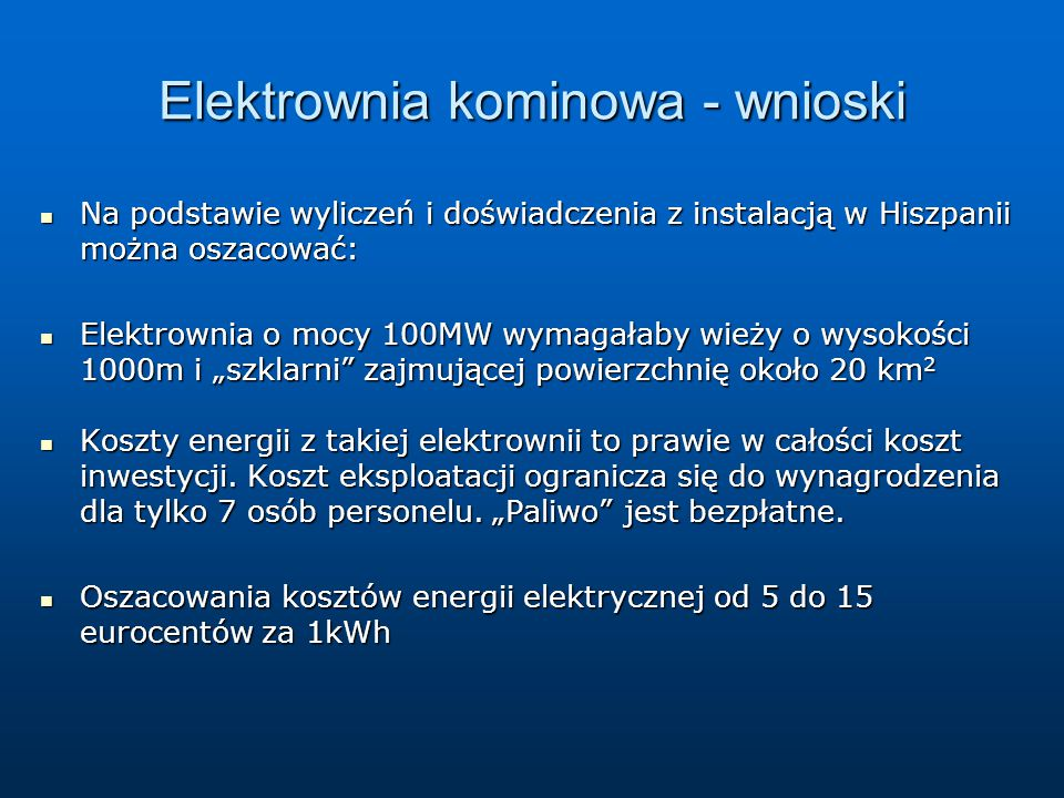 Elektrownia kominowa - wnioski