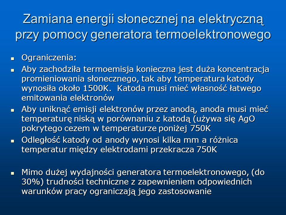 Zamiana energii słonecznej na elektryczną przy pomocy generatora termoelektronowego