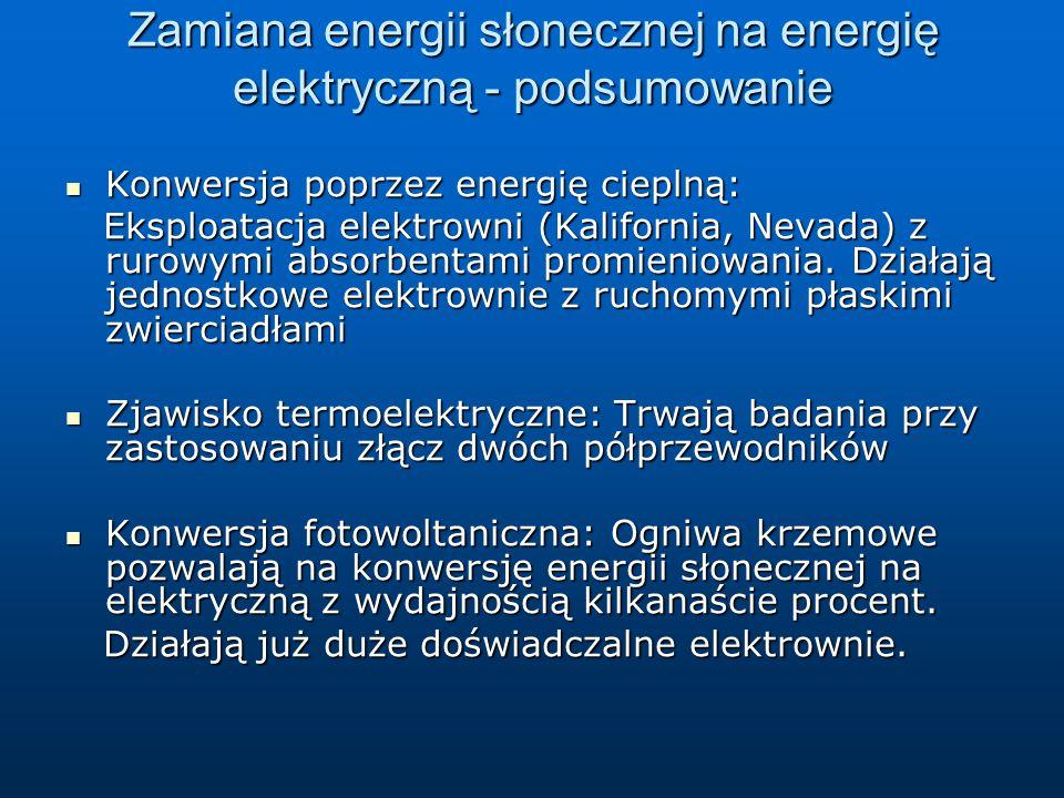Zamiana energii słonecznej na energię elektryczną - podsumowanie