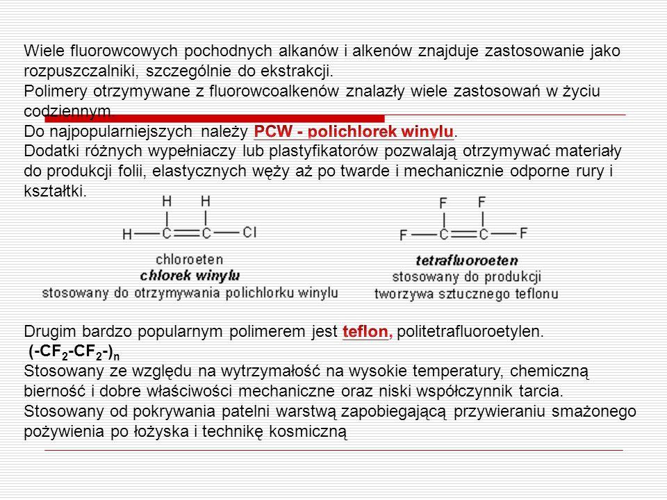 Wiele fluorowcowych pochodnych alkanów i alkenów znajduje zastosowanie jako rozpuszczalniki, szczególnie do ekstrakcji.