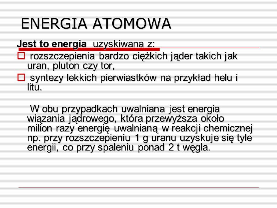 ENERGIA ATOMOWA Jest to energia uzyskiwana z:
