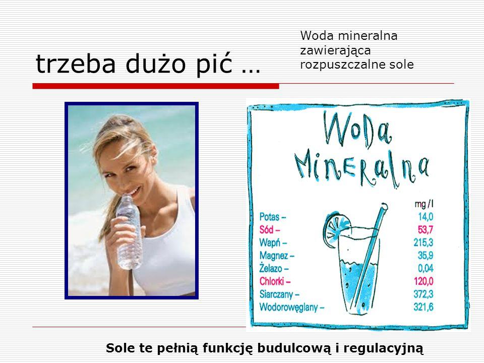 trzeba dużo pić … Woda mineralna zawierająca rozpuszczalne sole