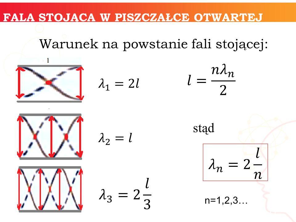 𝑙= 𝑛 𝜆 𝑛 2 𝜆 𝑛 =2 𝑙 𝑛 𝜆 3 =2 𝑙 3 Warunek na powstanie fali stojącej: