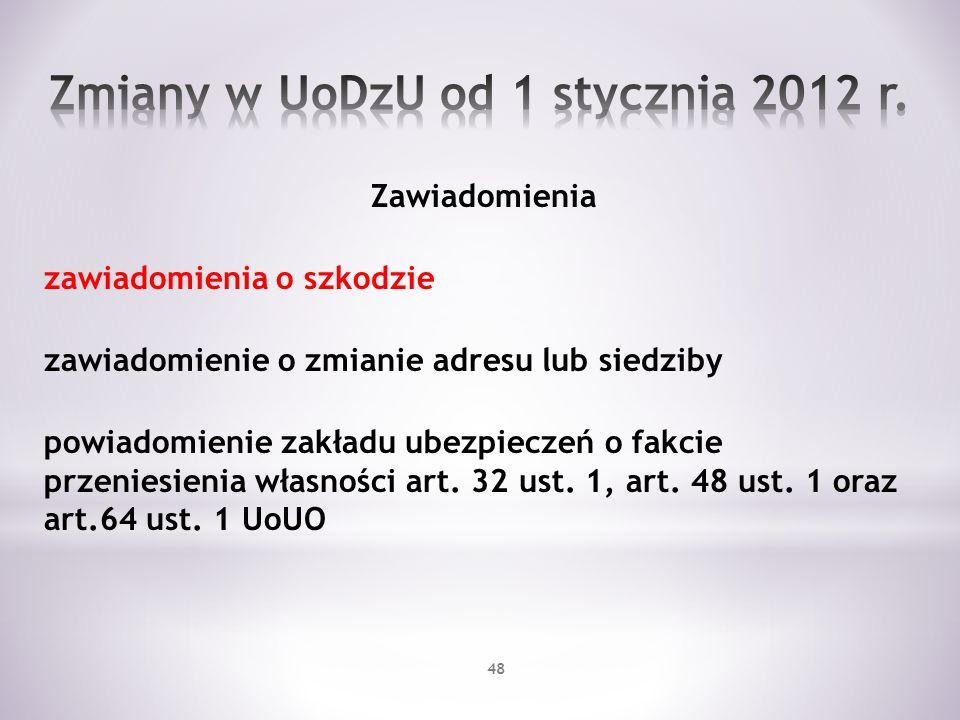 Zmiany w UoDzU od 1 stycznia 2012 r.