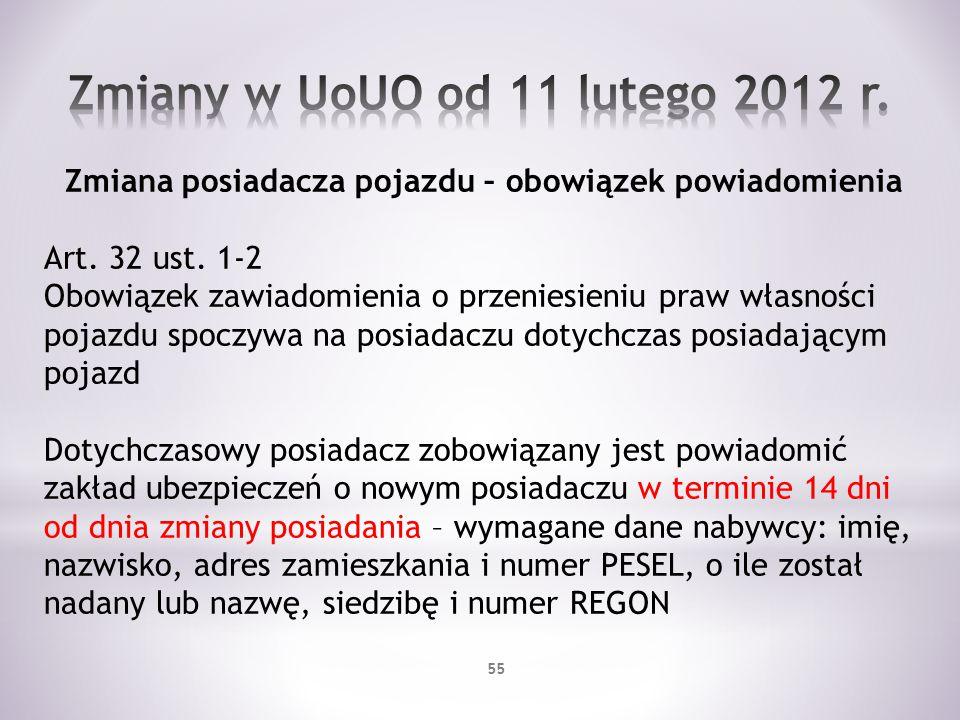 Zmiany w UoUO od 11 lutego 2012 r.