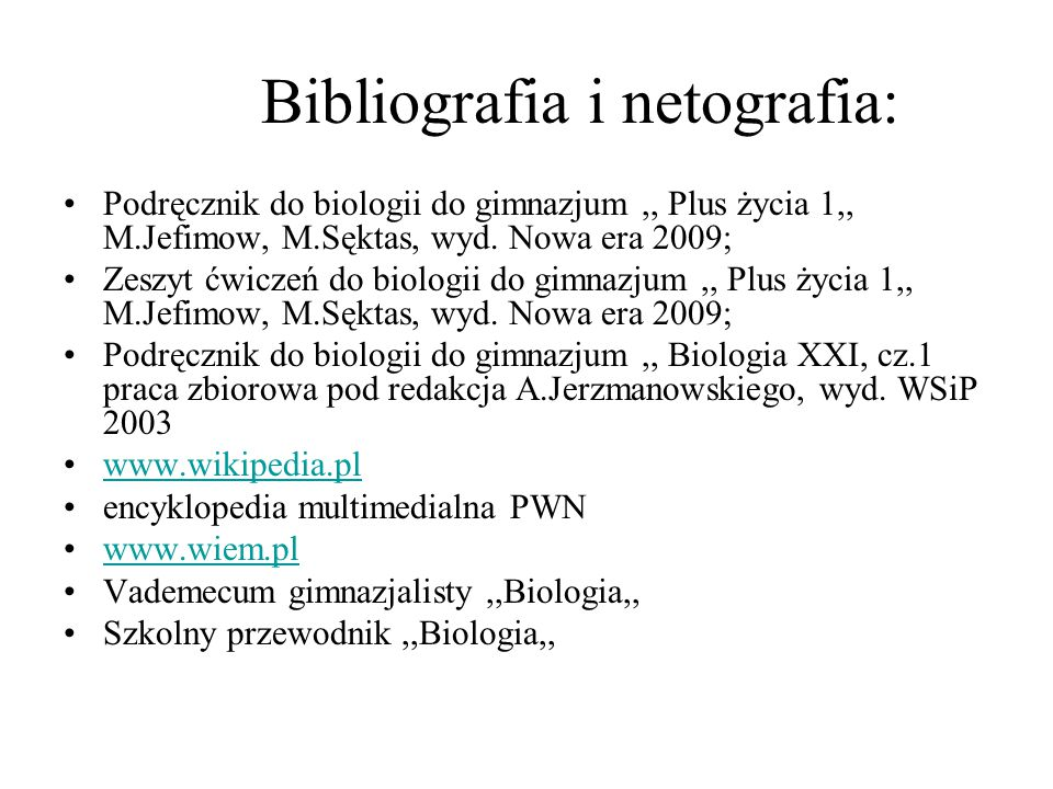 Bibliografia i netografia:
