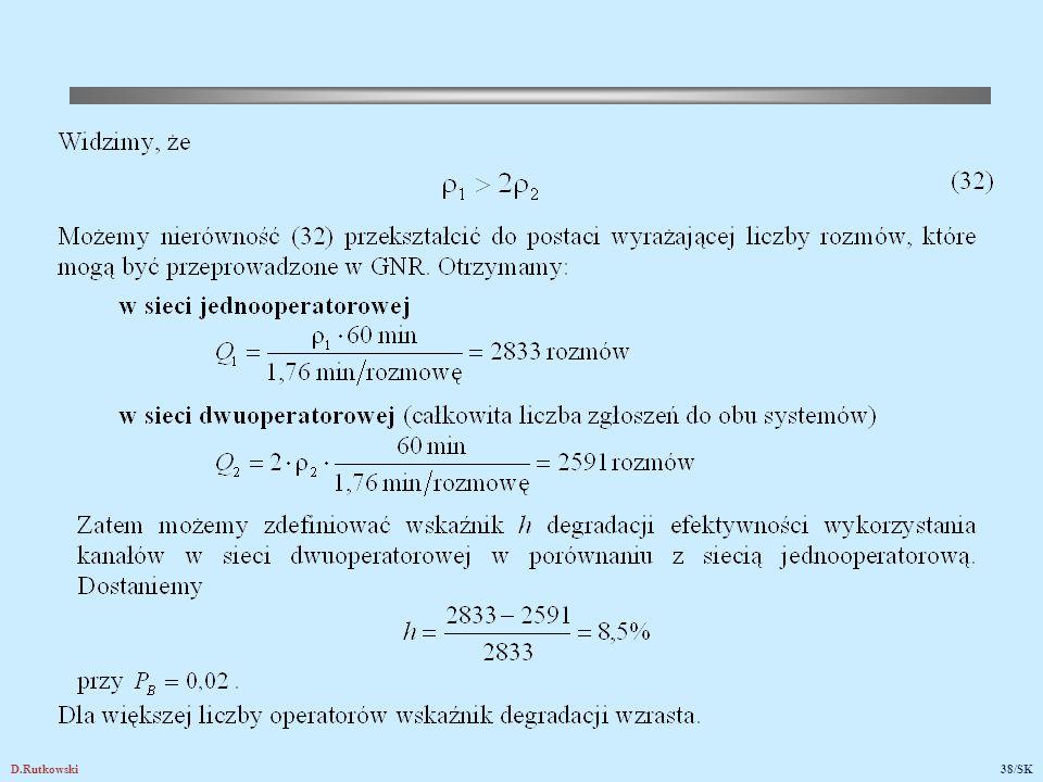 Rys.24. Degradacja efektywności wykorzystania kanałów w funkcji prawdopodobieństwa blokowania