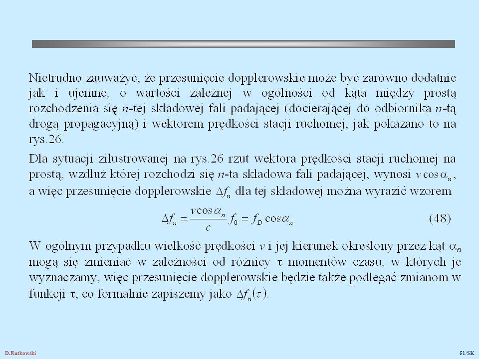 Rys.26. Ilustracja do wyznaczania zależności przesunięcia dopplerowskiego od kąta między kierunkiem fali padającej i wektorem prędkości stacji ruchomej