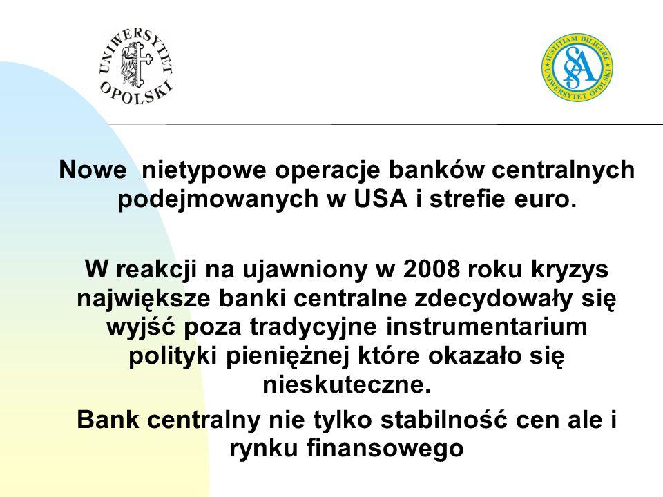 Bank centralny nie tylko stabilność cen ale i rynku finansowego