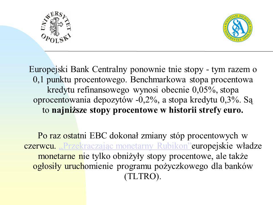 Europejski Bank Centralny ponownie tnie stopy - tym razem o 0,1 punktu procentowego. Benchmarkowa stopa procentowa kredytu refinansowego wynosi obecnie 0,05%, stopa oprocentowania depozytów -0,2%, a stopa kredytu 0,3%. Są to najniższe stopy procentowe w historii strefy euro.