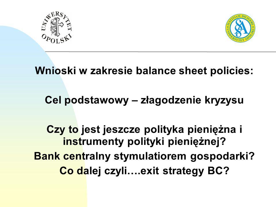 Wnioski w zakresie balance sheet policies: