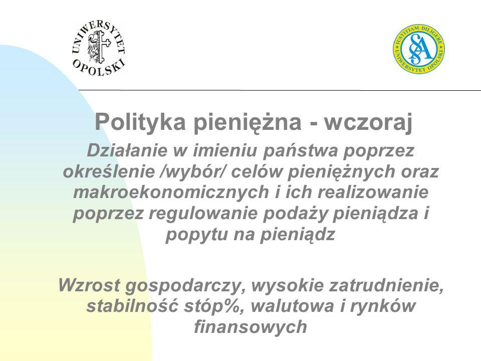 Polityka pieniężna - wczoraj