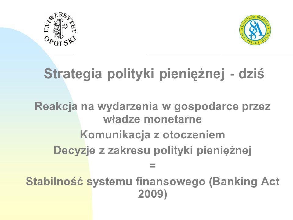 Strategia polityki pieniężnej - dziś