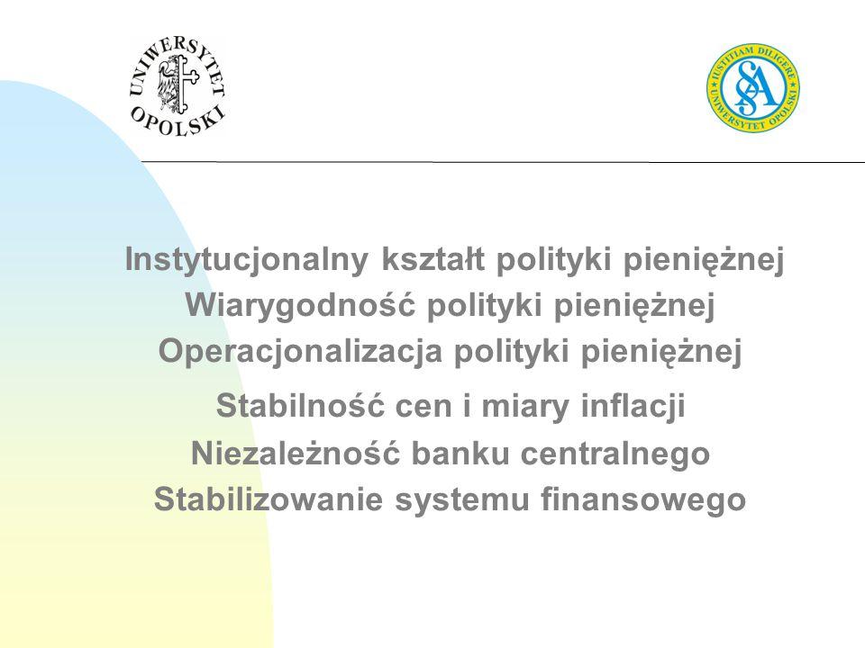 Instytucjonalny kształt polityki pieniężnej