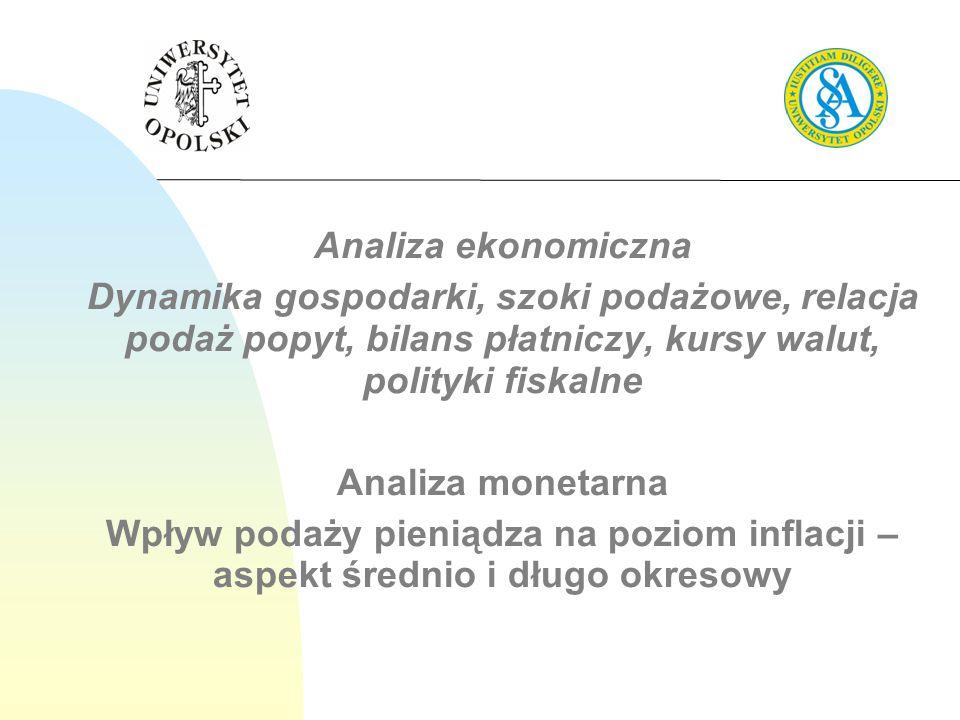 Analiza ekonomiczna Dynamika gospodarki, szoki podażowe, relacja podaż popyt, bilans płatniczy, kursy walut, polityki fiskalne.