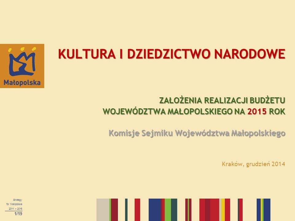 KULTURA I DZIEDZICTWO NARODOWE ZAŁOŻENIA REALIZACJI BUDŻETU WOJEWÓDZTWA MAŁOPOLSKIEGO NA 2015 ROK Komisje Sejmiku Województwa Małopolskiego Kraków, grudzień 2014