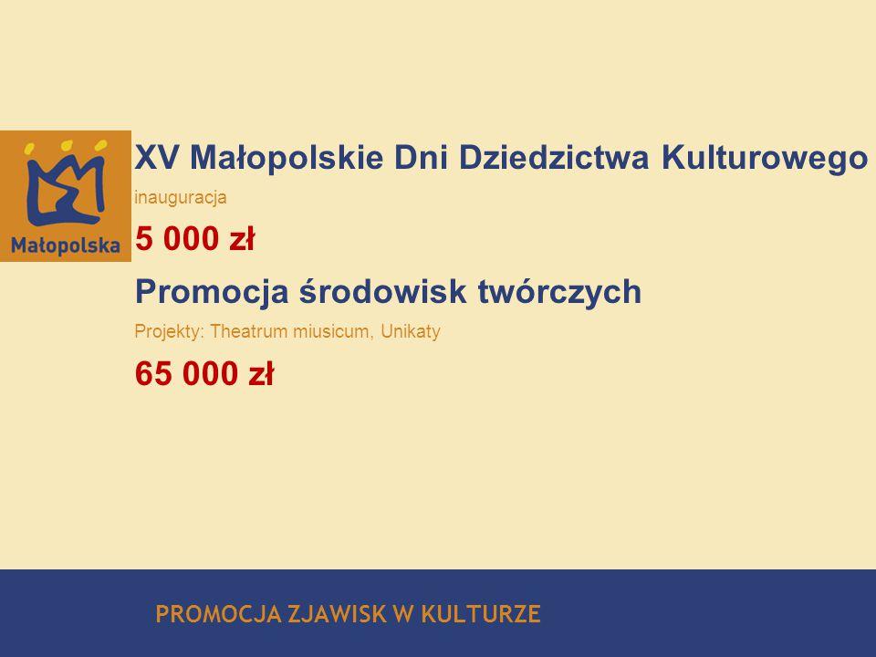 XV Małopolskie Dni Dziedzictwa Kulturowego inauguracja 5 000 zł Promocja środowisk twórczych Projekty: Theatrum miusicum, Unikaty 65 000 zł